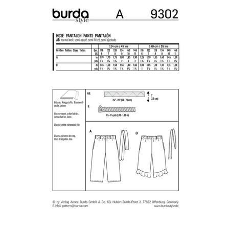 Wykrój BURDA: spodnie zgumą wpasie ikuloty o długości 7/8, fig. 9