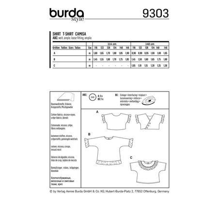 Wykrój BURDA: bluzka lub tunika z rękawami krojonymi zcałości ifalbankami, fig. 11