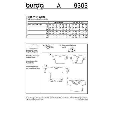 Wykrój BURDA: bluzka lub tunika z rękawami krojonymi zcałości ifalbankami, fig. 12