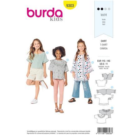 Wykrój BURDA: bluzka lub tunika z rękawami krojonymi zcałości ifalbankami, fig. 1