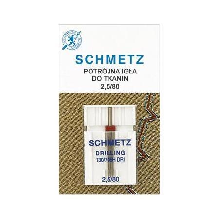 Igła potrójna do maszyn do szycia 130/705H DRI do tkanin Schmetz 2,5/80, fig. 1