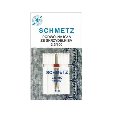 Igła Schmetz podwójna ze skrzydełkiem do mereżki, rozstaw 2,5 mm, fig. 1