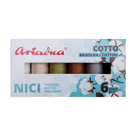 Zestaw 6 bawełnianych nici do szycia Ariadna Cotto Earth, fig. 2