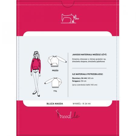 Wykrój na bluzę damską z rękawem raglanowym, fig. 2