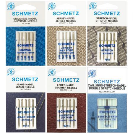 Zestaw igieł Schmetz do tkanin, dzianin, stretchu, jeansu, skóry i igła podwójna, fig. 1