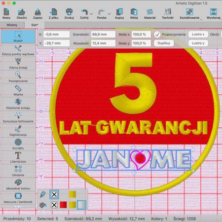 Janome Artistic Digitizer - profesjonalny program do projektowania haftów, fig. 4