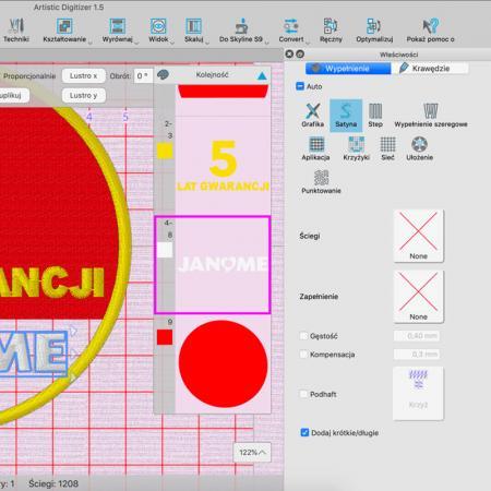 Janome Artistic Digitizer - profesjonalny program do projektowania haftów, fig. 5
