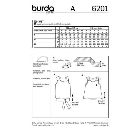 Wykrój BURDA: top na ramiączkach o rozszerzanym kroju z paskiem i wiązaniami, fig. 9