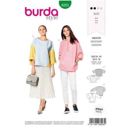 Wykrój BURDA: bluza o prostym kroju zozdobnymi szwami, fig. 1