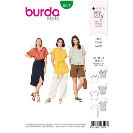 Wykrój BURDA: bluzka zobniżoną linią ramion i dekoltem wszpic zprzodu lub ztyłu, fig. 1