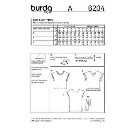 Wykrój BURDA: bluzka zobniżoną linią ramion i dekoltem wszpic zprzodu lub ztyłu, fig. 12
