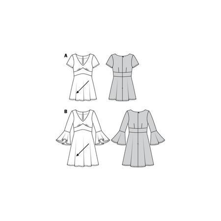 Wykrój BURDA: sukienka wstylu empire zpanelem pod biustem iz rozkloszowaną spódnicą, fig. 10