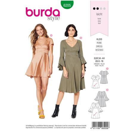 Wykrój BURDA: sukienka wstylu empire zpanelem pod biustem iz rozkloszowaną spódnicą, fig. 1