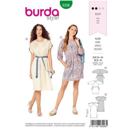 Wykrój BURDA: luźna sukienka zraglanowymi rękawami i tunelem wtalii, fig. 1