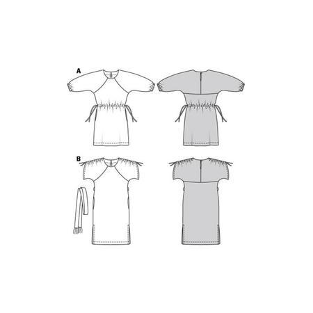 Wykrój BURDA: luźna sukienka zraglanowymi rękawami i tunelem wtalii, fig. 10