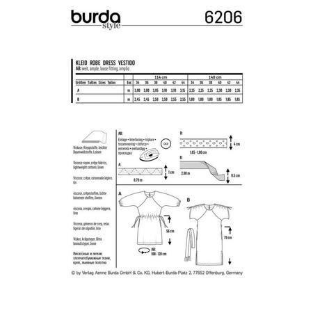Wykrój BURDA: luźna sukienka zraglanowymi rękawami i tunelem wtalii, fig. 8