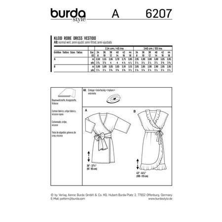 Wykrój BURDA: sukienka kopertowa zpaskiem iwiązaniami oraz wolantami u dołu iprzy dekolcie, fig. 8