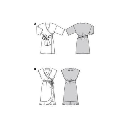 Wykrój BURDA: sukienka kopertowa zpaskiem iwiązaniami oraz wolantami u dołu iprzy dekolcie, fig. 9