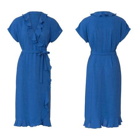 Wykrój BURDA: sukienka kopertowa zpaskiem iwiązaniami oraz wolantami u dołu iprzy dekolcie, fig. 6