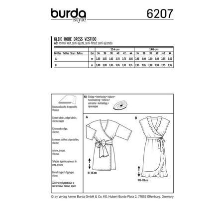 Wykrój BURDA: sukienka kopertowa zpaskiem iwiązaniami oraz wolantami u dołu iprzy dekolcie, fig. 7