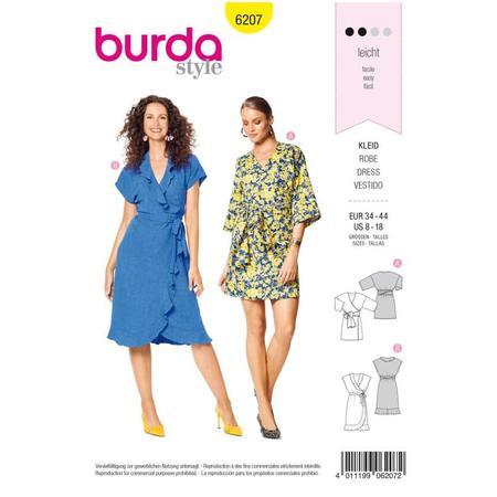 Wykrój BURDA: sukienka kopertowa zpaskiem iwiązaniami oraz wolantami u dołu iprzy dekolcie, fig. 1