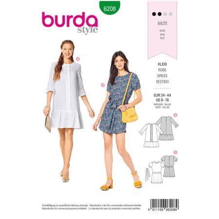 Wykrój BURDA: luźna sukienka z falbaną u dołu, fig. 1