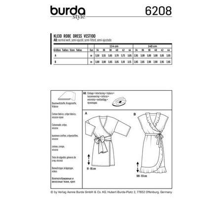 Wykrój BURDA: luźna sukienka z falbaną u dołu, fig. 6