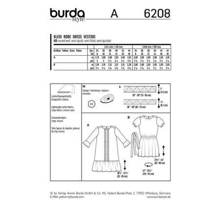Wykrój BURDA: luźna sukienka z falbaną u dołu, fig. 7