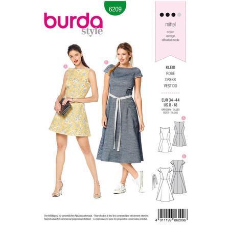 Wykrój BURDA: sukienka zrozszerzaną spódnicą i dekoltem włódkę, fig. 1