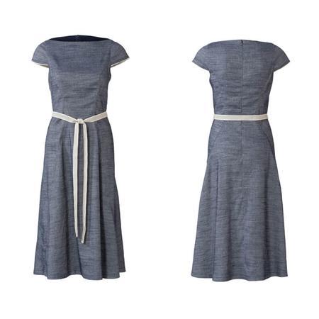 Wykrój BURDA: sukienka zrozszerzaną spódnicą i dekoltem włódkę, fig. 5