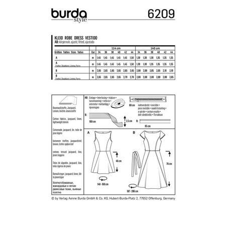 Wykrój BURDA: sukienka zrozszerzaną spódnicą i dekoltem włódkę, fig. 6