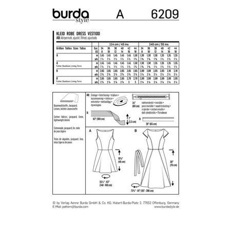 Wykrój BURDA: sukienka zrozszerzaną spódnicą i dekoltem włódkę, fig. 7