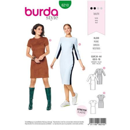 Wykrój BURDA: prosta sukienka z rozporkiem ztyłu, fig. 1