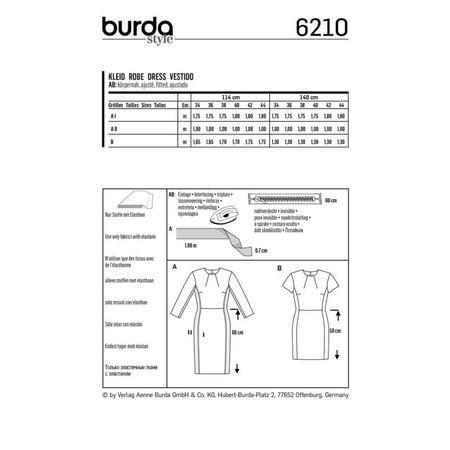 Wykrój BURDA: prosta sukienka z rozporkiem ztyłu, fig. 6
