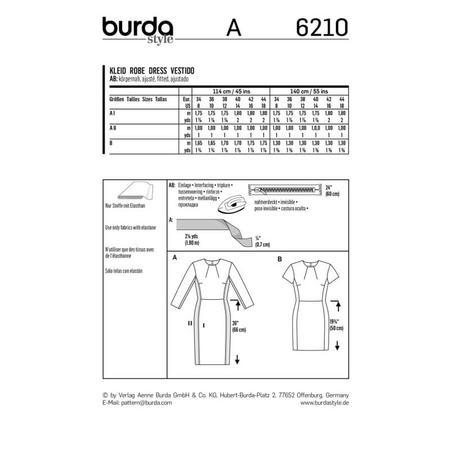 Wykrój BURDA: prosta sukienka z rozporkiem ztyłu, fig. 7