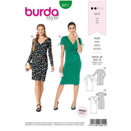 Wykrój BURDA: dopasowana sukienka kopertowa, fig. 1