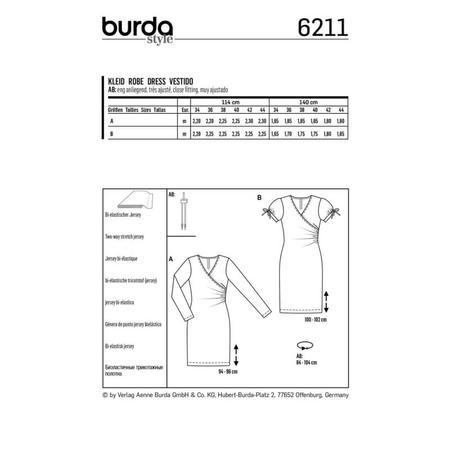 Wykrój BURDA: dopasowana sukienka kopertowa, fig. 6