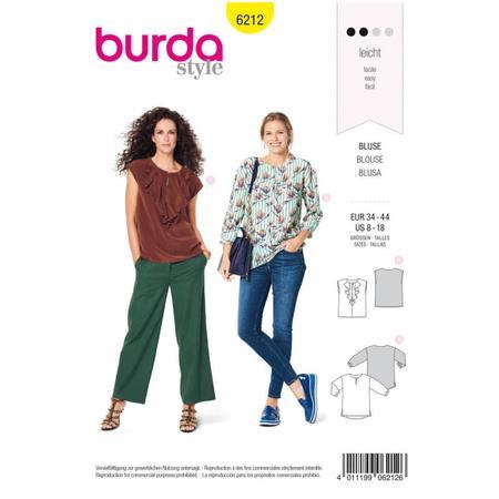 Wykrój BURDA: bluzka o prostym kroju, zwolantem przy dekolcie, fig. 1