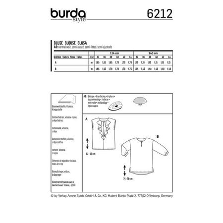 Wykrój BURDA: bluzka o prostym kroju, zwolantem przy dekolcie, fig. 8