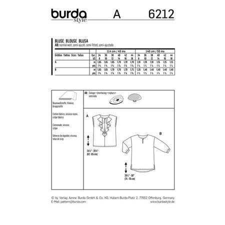 Wykrój BURDA: bluzka o prostym kroju, zwolantem przy dekolcie, fig. 9