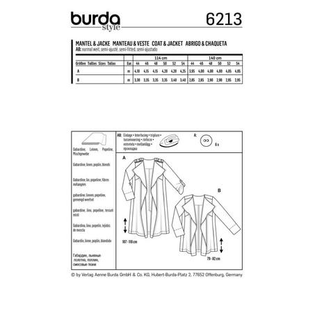 Wykrój BURDA: płaszcz bez kołnierza i zapięcia, fig. 7