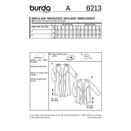 Wykrój BURDA: płaszcz bez kołnierza i zapięcia, fig. 8