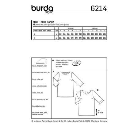 Wykrój BURDA: luźna bluzka z zakładkami ztyłu, fig. 9