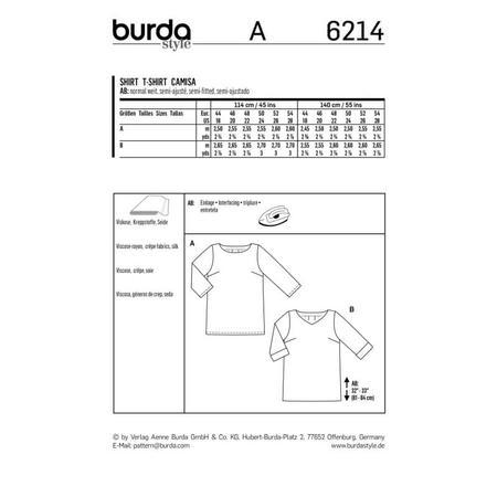 Wykrój BURDA: luźna bluzka z zakładkami ztyłu, fig. 10