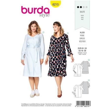 Wykrój BURDA: sukienka zzapięciem na guziki, dekoltem wszpic iwolantami, fig. 1