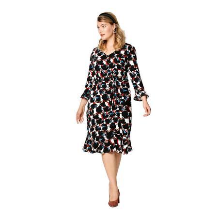 Wykrój BURDA: sukienka zzapięciem na guziki, dekoltem wszpic iwolantami, fig. 3