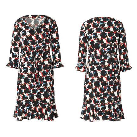 Wykrój BURDA: sukienka zzapięciem na guziki, dekoltem wszpic iwolantami, fig. 4