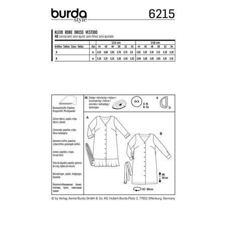 Wykrój BURDA: sukienka zzapięciem na guziki, dekoltem wszpic iwolantami, fig. 6