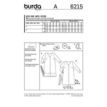 Wykrój BURDA: sukienka zzapięciem na guziki, dekoltem wszpic iwolantami, fig. 7