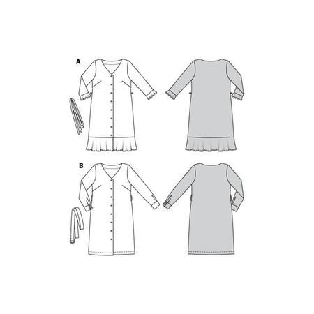 Wykrój BURDA: sukienka zzapięciem na guziki, dekoltem wszpic iwolantami, fig. 8